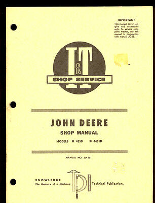 John Deere It Shop Manual Tractor Series 435d 4401d Jd-18