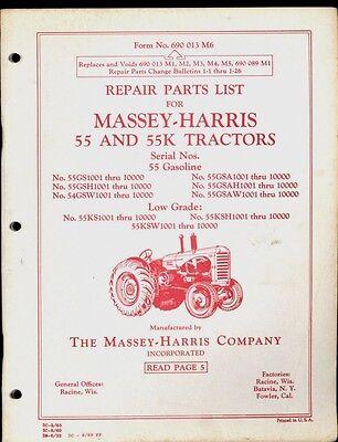 1969 Massey-harris Repair Parts List 55 55k Gasoline Tractors