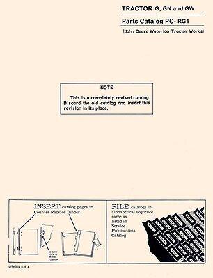 John Deere G Gn Gw Tractor Parts Manual Sn G1000-12999 G13000-225999 G26000up Jd
