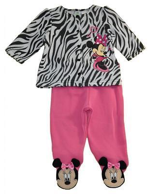 Minnie Mouse Infant Girls Zebra Top 2pc Footed Pant Set Size 0/3M 3/6M - Zebra Girls