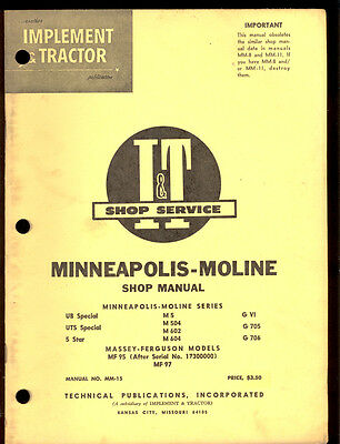 Minneapolis-moline Shop Manual Ub Uts Specials 5 Star M 5504602604 G Vi