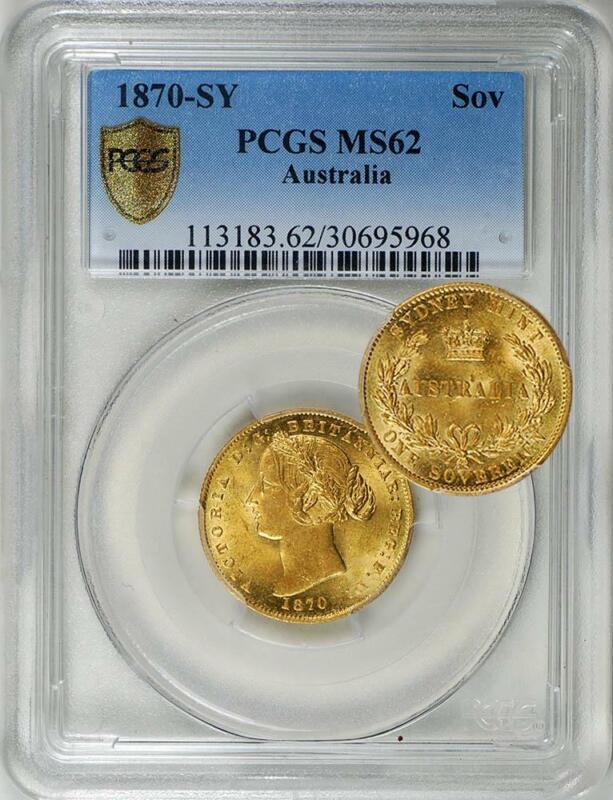 Australia 1870-SY Gold 1 Sovereign PCGS MS-62 - Rare in UNC!