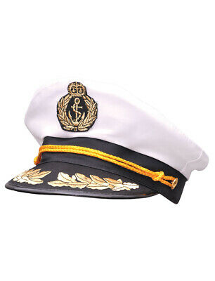 Sailor Costume Hat (Yacht Captain Hat Sea Skipper White Navy Sailor Cap Costume Boater Hat)