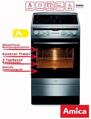 Elektro Standherd 50 cm Edelstahl  Umluft Timer Grill Amica SHC11579E ()