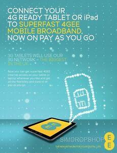 EE 4G Mobile Broadband PAYG Combi SIM Card. Preloaded With 6GB Data.