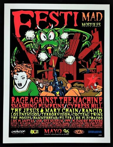 Rage Against The Machine POSTER Smashing Pumpkins Cypress Hill Silkscreen TAZ