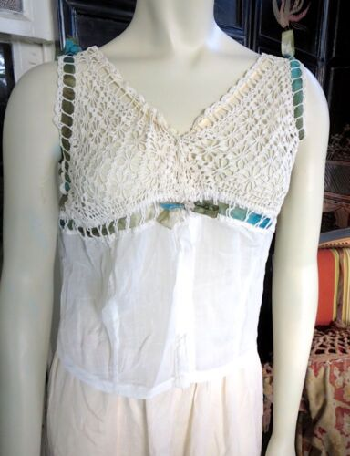 1910s Edwardian Crochet Ribboned Camisole Snap Front Corset Cover 36 Bust