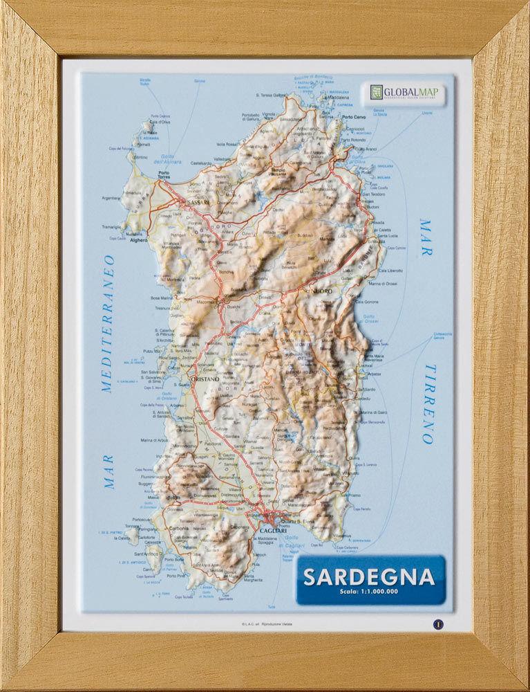 Cartina Satellitare Sardegna.Sardegna Carta In Rilievo 21x30 Cm Con Cornice Cartina Mappa Global Ebay
