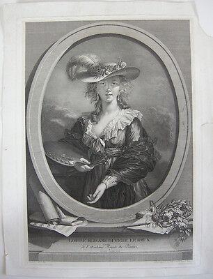 Portrait Louise E. Vigée Le Brun (1755-1842) Orig. Kupferstich um 1800