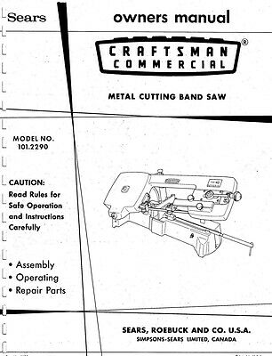 1973 Craftsman 101.2290  Commercial Metal Cutting Band Saw - Owner's Manual