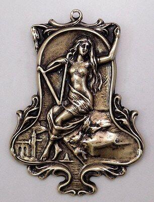 #3396 ANTIQUED GOLD MYTHOLOGICAL LADY DESIGN BROOCH - 1 Pc Lot