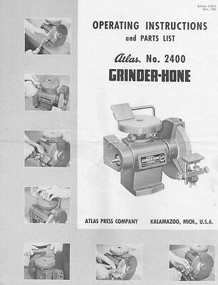 1953 Atlas No. 2400 Grinder-Hone  Instructions
