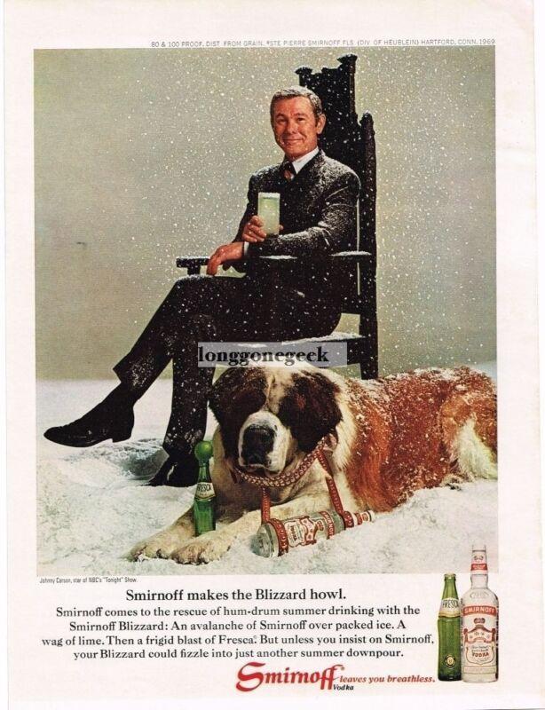 1969 Smirnoff Vodka Johnny Carson Saint Bernard Fresca VINTAGE Print Ad