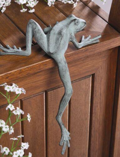 Froggy Long Leg Frog Climbing Shelf Sitter Longlegs Garden Sculpture ~ SPI Home