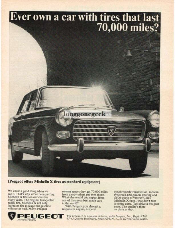 1965 Peugeot 404 with Michelin Tires Vintage Ad