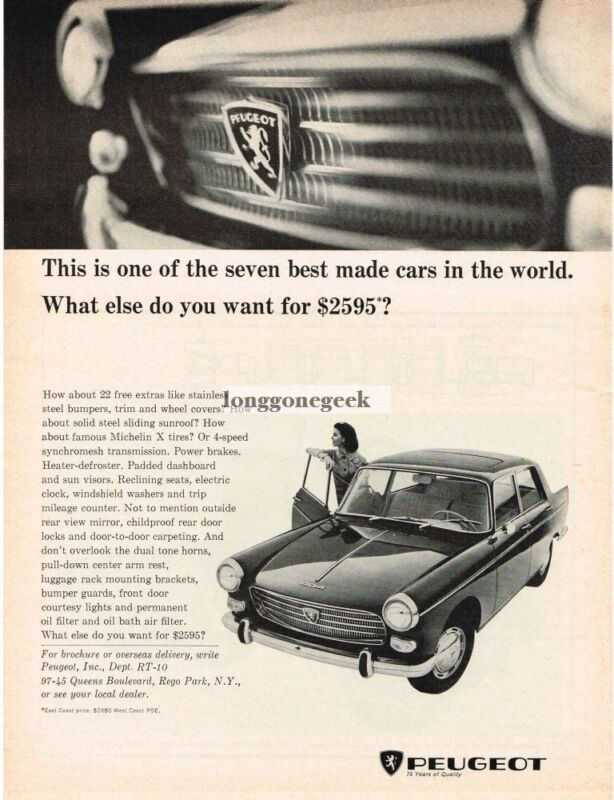 1965 Peugeot 404 Woman Leaning against car door Vintage Ad