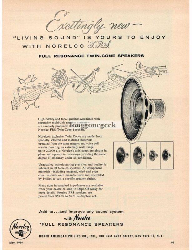 1956 Norelco FRS Hi-Fi Speakers Vintage Print Ad