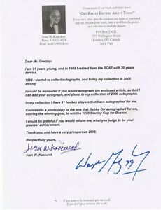 WAYNE GRETZKY  AUTOG #1 PHOTO #2 MY LETTER INCLUDED IS THE ENV London Ontario image 2