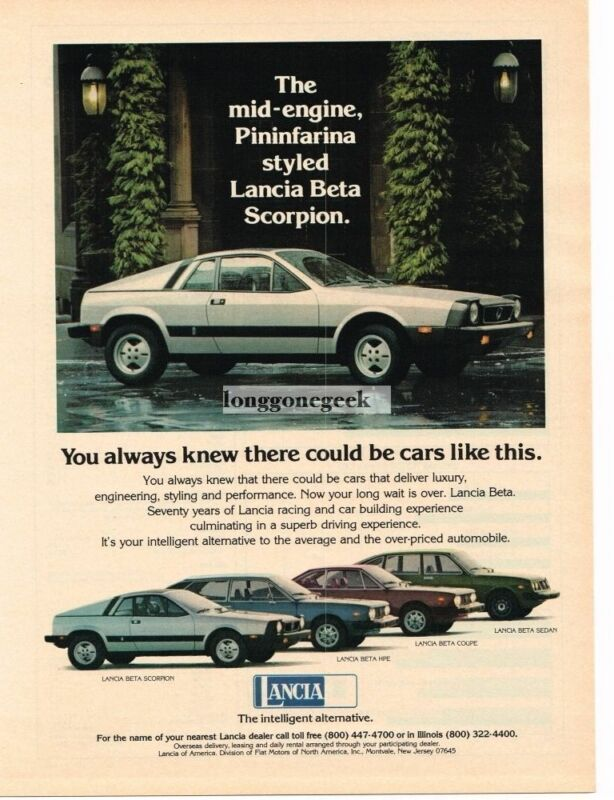 1976 Lancia Beta Scorpion White Vintage Ad