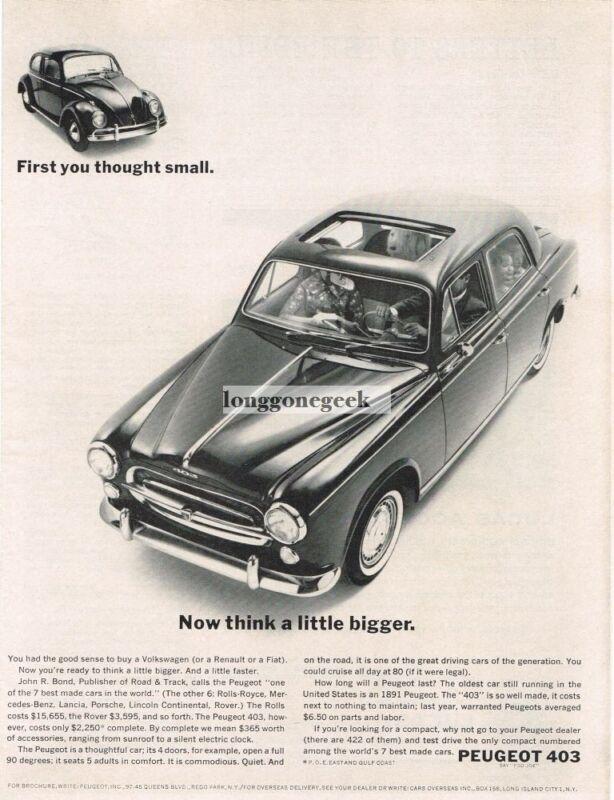 1962 Peugeot 403 4-door Sedan Compared to VW Vintage Print Ad