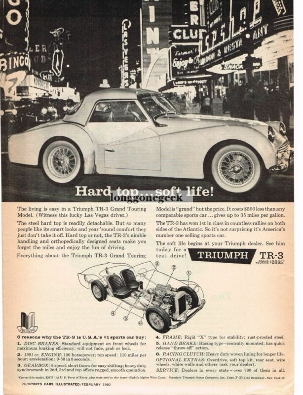 1960 Triumph TR3 GT with Hard Top Sports Automobile Car Vintage Ad