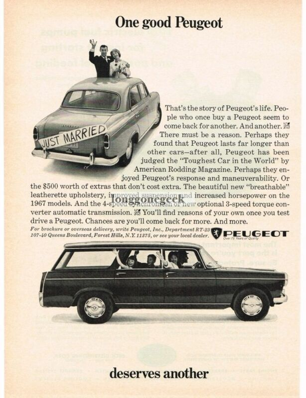 1967 Peugeot 404 Station Wagon Vintage Ad