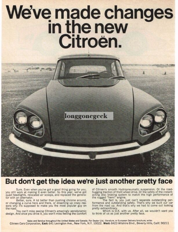 1968 Citroen  Just Another Pretty Face Smiling Car Vintage Print Ad