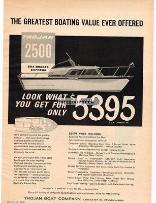 1962 TROJAN BOAT CO. 2500 Sea Breeze Express Yacht Vtg Print Ad
