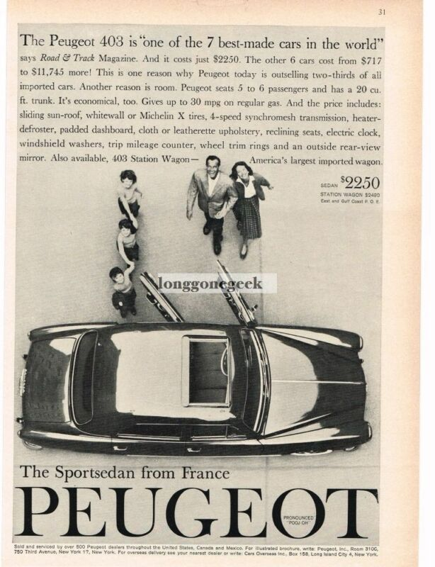 1959 PEUGEOT 403 4-door Sedan Top View Vintage Ad