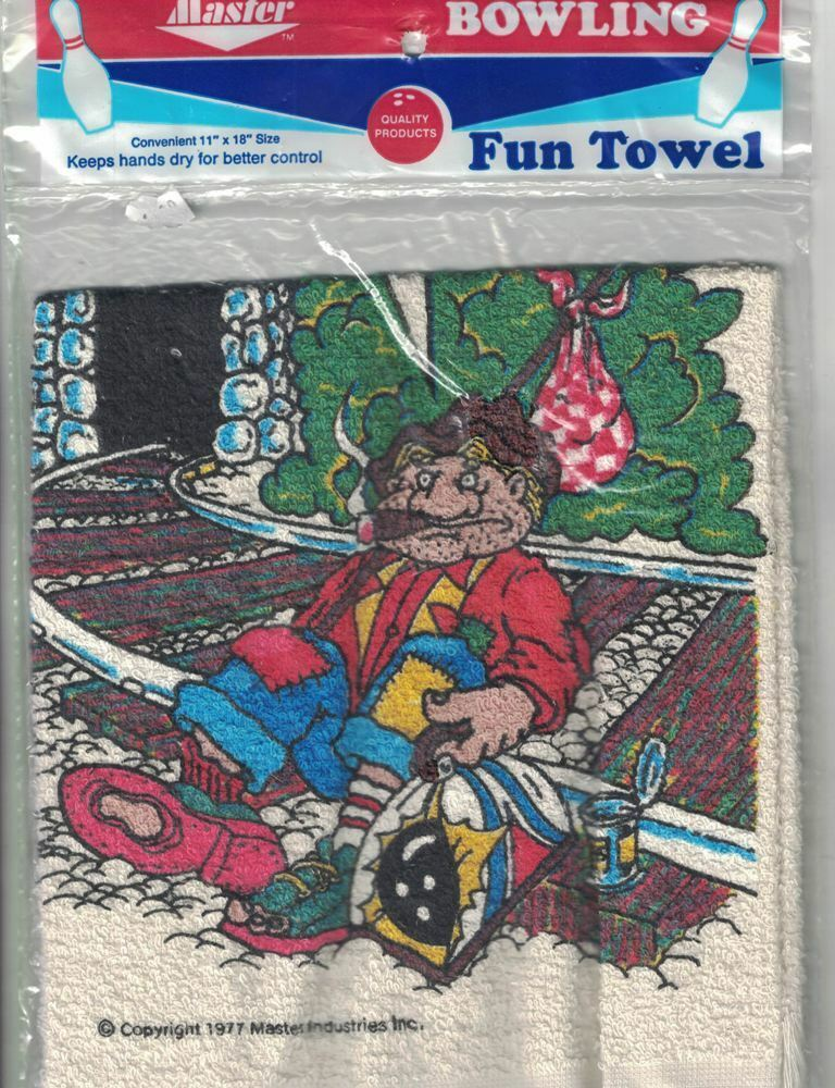 """Master Bowling Fun Towel It's Been A Bum Year 11"""" X 18"""" Vtg 1983 In Package"""