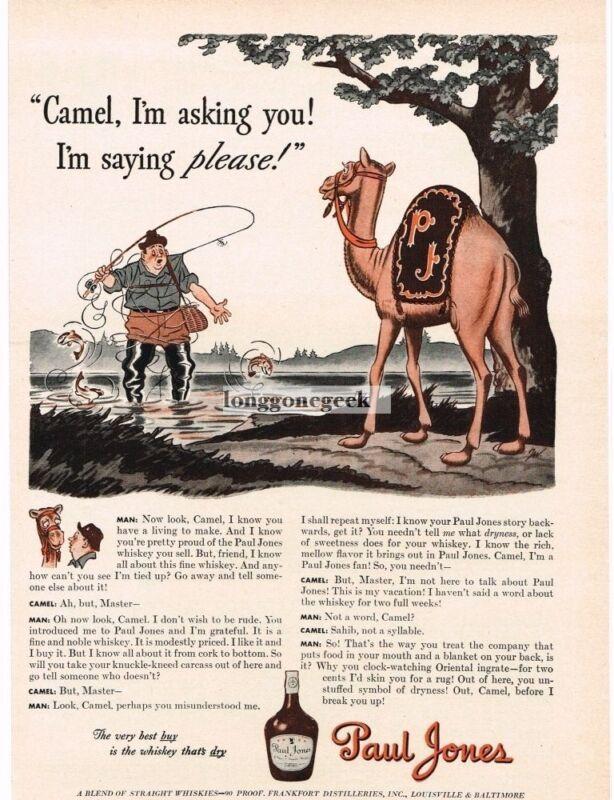 1942 Paul Jones Whiskey Fisherman Camel art by James Williamson Vintage Print Ad