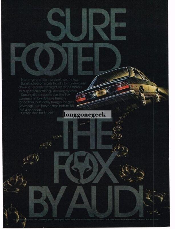 """1974 Audi Fox """"Sure Footed"""" Vintage Print Ad"""