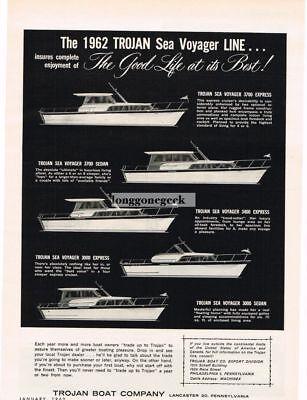 1962 TROJAN BOAT CO. Sea Voyager Line Yachts Vtg Print Ad