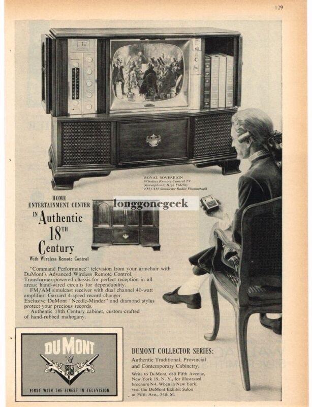 1959 Dumont ROYAL SOVEREIGN TV Radio Phonograph Floor Console Vintage Print Ad