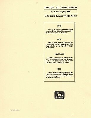 John Deere 1010 Series Crawler Tractor Parts Manual 727