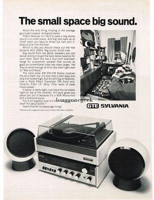 1972 GTE Sylvania ACS 12WH Stereo System Vtg Print Ad