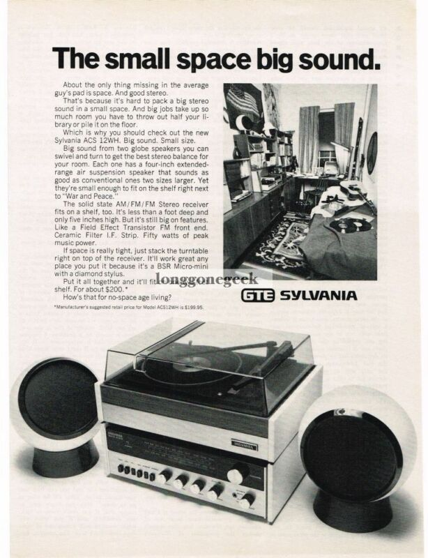 1972 GTE Sylvania ACS 12WH Stereo System Vintage Print Ad