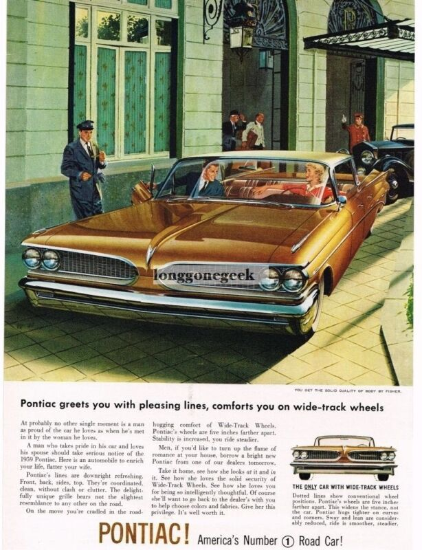 1959 Pontiac BONNEVILLE Canyon Copper 4-door art  by VK & AF Vintage Ad