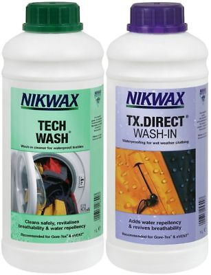 Nikwax Tech Wash & TX Direct Twin Pack Cleaning Waterproof Outdoor Clothing 2x1L