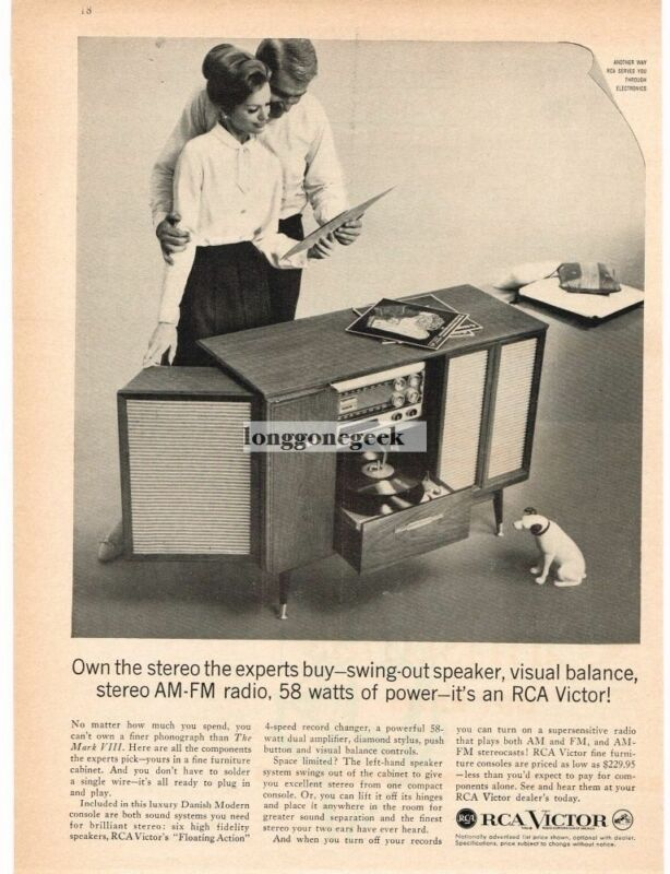 1959 RCA VICTOR Mark VIII Stereo Radio Phonograph Danish Modern Vintage Print Ad