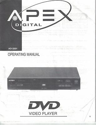 APEX Digital DVD Video Player AD-3201 Operating Manual User's Guide