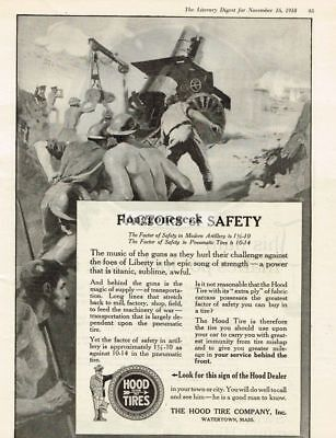 1918 Hood Tire Co. Factors of Safety Watertown MA Vintage Ad