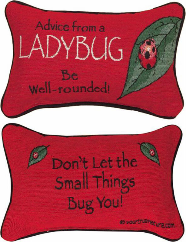 """PILLOWS - """"ADVICE FROM A LADYBUG"""" REVERSIBLE PILLOW - 12.5"""" x 8.5"""" - NATURE"""