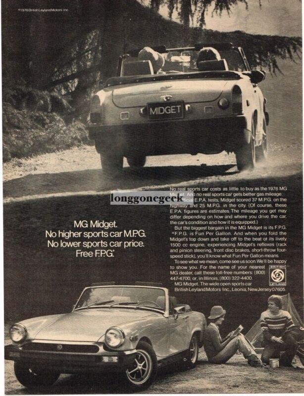 1976 MG Midget Campers Vintage Ad
