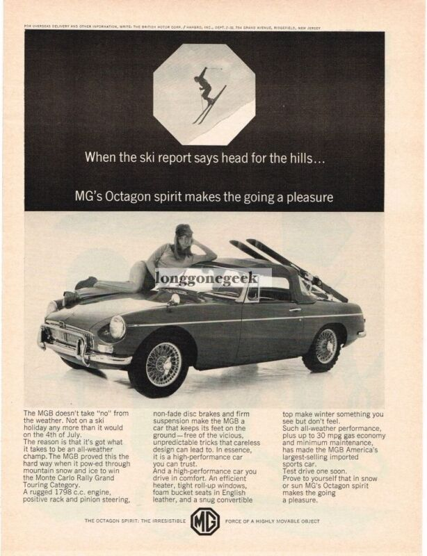 1966 MGB Convertible Top Up Woman Snow Skier Vintage Ad