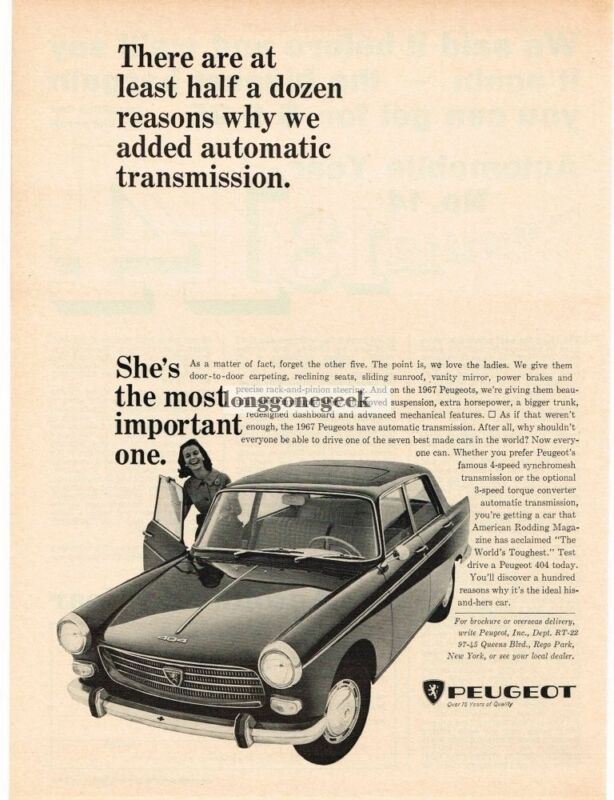 1966 Peugeot 404 Reasons Why We Added Automatic transmission Vintage Ad