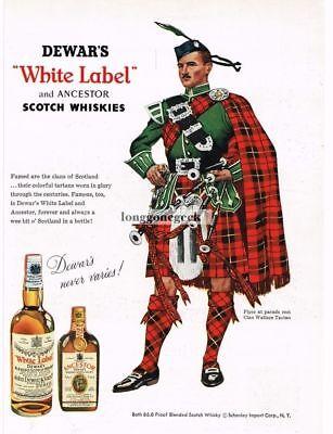 1959 DEWAR'S White Label Scotch Whiskey CLAN WALLACE Tartan VTG Print Ad