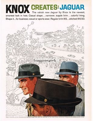 "1959 KNOX ""Jaguar"" Mens Hats line art VTG PRINT AD"