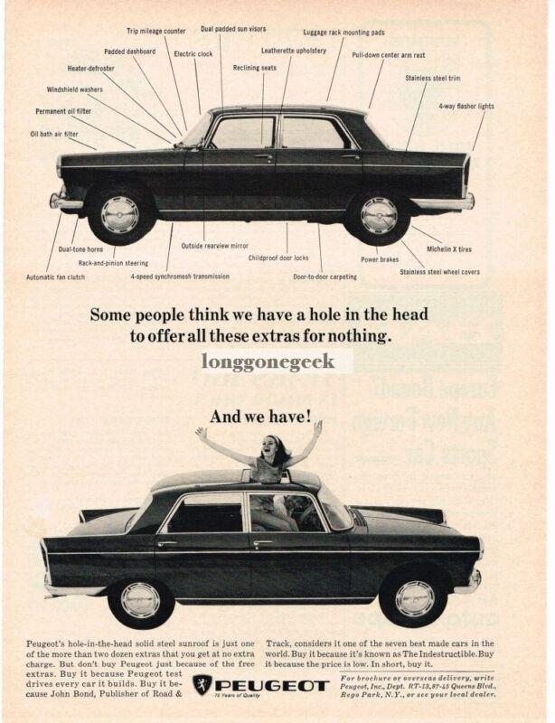 1966 Peugeot 404 4-door sedan Woman Sunroof Vintage Ad