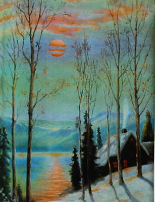 Colorful Scenic Cabin Snow Lake Moon Scene By R Atkinson Fox